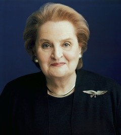 Volunteers Debra Wiley and Bob Hull saw Madeleine Albright in Terminal A